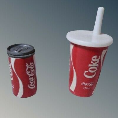 Tiny Doll House Miniature Coke Can and Coca-Cola Cup with Straw