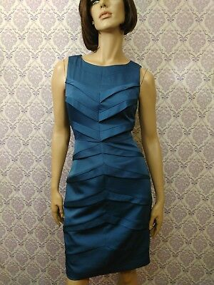 Adrianna Papell Sleeveless Sheath Dress Womens Size 6 Blue Lined Fitted Back Zip