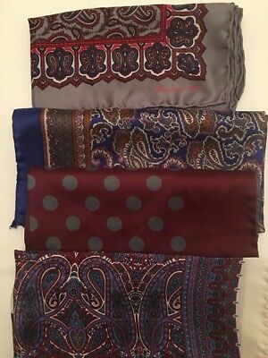 Set Of Four Silk Pocket Squares Turnball & Asser and Neiman Marcus