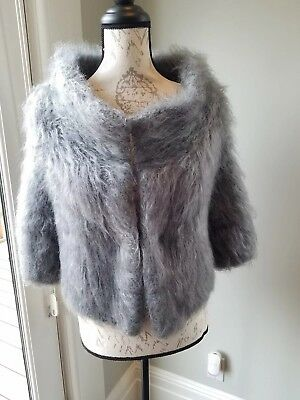 One Off Gray Shaggy Mohair Knit Vtg 50s Style Chubby Cardigan Sweater Top Coat M