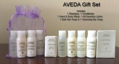 AVEDA Shampoo Conditioner Hand Body Wash Lotion 2 Soap 6pc Travel GIFT SET w/Bag