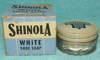 Vintage Shinola White Shoe Soap Jar with Contents and Box, New York, NY