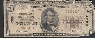 1929 $5 The Commercial National Bank of High Point, NC NORTH CAROLINA