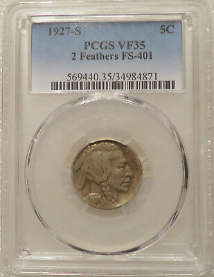 1927-S PCGS VF35 Buffalo 5c - 2 Feathers - FS-401, TOUGH Two Feather variety