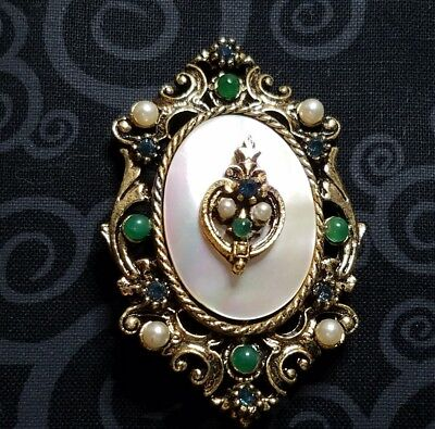 Vintage Signed Art Mother Of Pearl Blue Rhinestone Green Cabs Pin Brooch