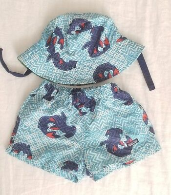 3-6 mo Patagonia Baby Baggies Shorts & Sun Bucket Hat- Shark Print