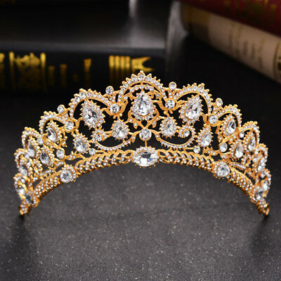 Gold Crown, Tiara, Wedding Prom Queen Quinceanera Pageant Princess Rhinestone