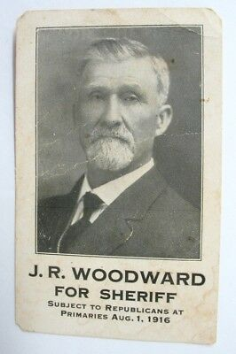 1916 Antique Political Campaign Card, WOODWARD FOR SHERIFF Douglas County Kansas