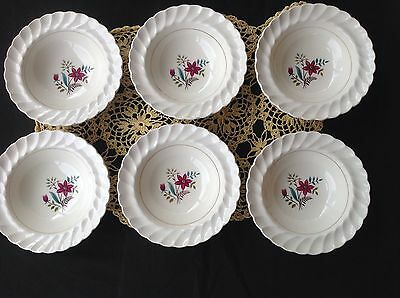 Myott Oklahoma Pattern - 6 Bowls With Pretty Flower Design - Pinched Edges