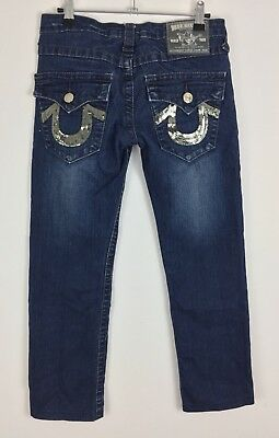 TRUE RELIGION Brand Jeans Size 26 Women's 3/4 Length Zip Fly Blue Made in USA