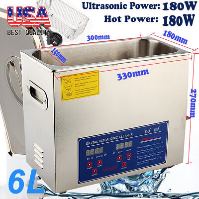 New 6L Ultrasonic Cleaner Stainless Steel Industry Heater w/Timer for Jewelry US
