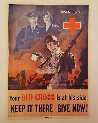 Original WWII Your RED CROSS Is At His Side WAR FUND Home Front Poster Stamp