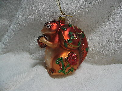 Squirrel Holding Nut Glass Ornament - Holly Leaves & Flower Accents Nature Acorn