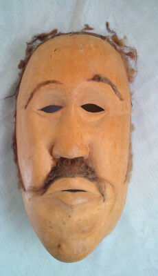 Old Mexican Hand Carved Wood Man's Face Mask