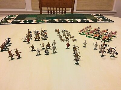 72 Vintage Marx Toys Plastic Hand Painted Miniature Knights And Horses Hong Kong