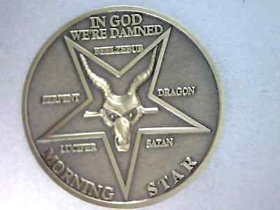 "Lucifer Morning Star 3D Prop Coin,1 1/2"" - Solid Brass, Satans Evil Ram Variety"