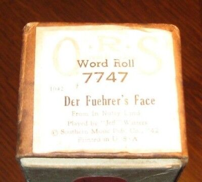Der Fuehrer's Face Cartoon Song Ridiculing Hitler Original Old Piano Roll 0318