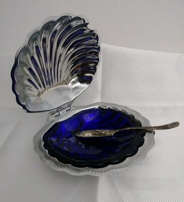 Vintage Silverplate Cobalt Blue Glass Oyster Shell Dish Silver Serving Knife