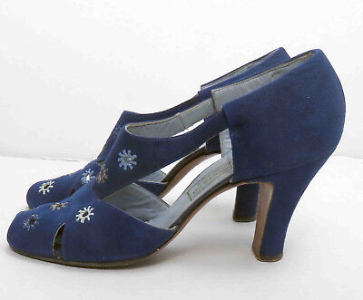 Beautiful Vintage 1930s Blue Suede Shoes Heels Peep Toe Cut Outs Vamp 5 1/2 AA