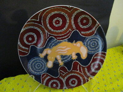 Tobwarra Aboriginal Dot Art Platypus In Fresh Water 21 Cm Plate