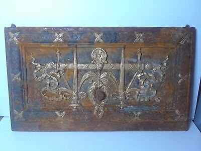 VTG Victorian Style Ornate Cast Iron Fireplace Ash Door - Steampunk Industrial