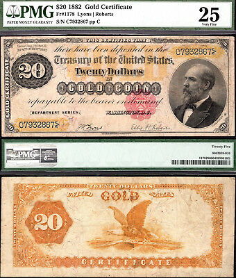 Fr 1178 1882 $20 Gold Certificate PMG 25 Very Fine (retains nice color)