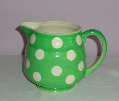 Vintage Green Jug With White Spots/spotted/ Polka Dots - Japan