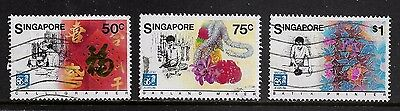 SINGAPORE 1986 Expo 86, World Fair Vancouver, set of 3, used