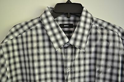 cf4ab9a2316 Hugo Boss Men s Sharp Fit Checked Dress Shirt Spread Collar Size Xl Nwt  145