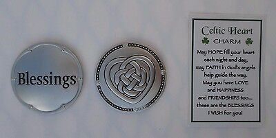 x 1 Blessings CELTIC HEART IRISH CHARM POCKET TOKEN Ganz I wish for you blessing