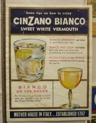 OLD AUSTRALIAN WINE & SPIRIT LABEL, 1950s CINZANO BIANCO SWEET DRY VERMOUTH