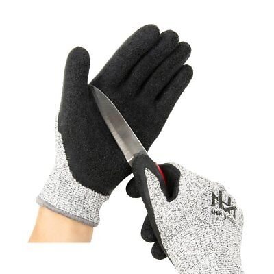 Cut Resistant Level 5 Work Gloves, Textured Latex Coated Nylon Safety Protective