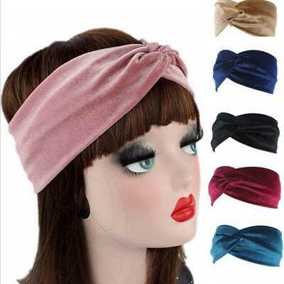 Womens Elastic Velvet Twist Knot Headband Stretchy Head Wrap-Turban Hair band