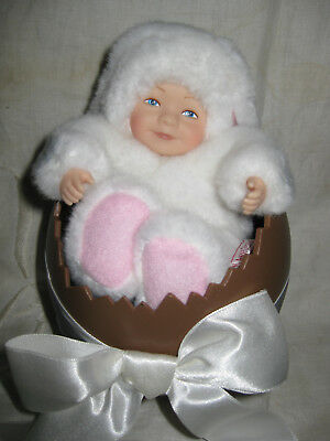 Cute Anne Geddes White Bunny Rabbit Baby Doll In Egg- Easter!!