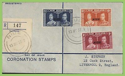 Niue 1937 KGVI Coronation set registered (LG) First Day Cover