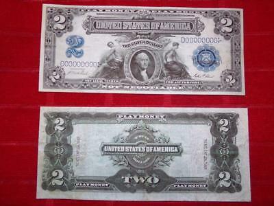 One Side 1899 $2.00 Silver Certificate  Orginal Size Prop Note Read Description!