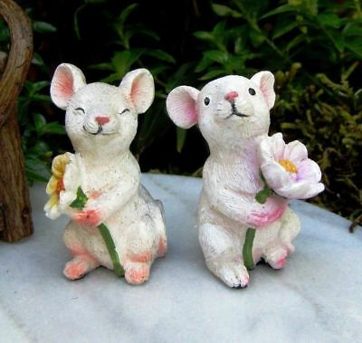 Miniature Fairy Garden Set of Two White Mice w/ Flowers - Buy 3 Save $5