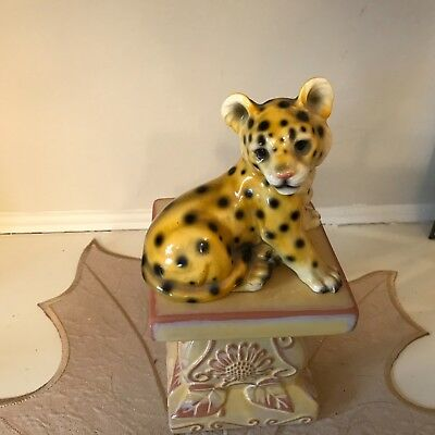 Vintage Cheetah Leopard Big Cat Baby Cub Figurine Japan, BEAUTIFUL