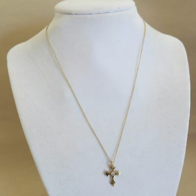 MIZUKI 14K Yellow Gold Diamond Cross NECKLACE