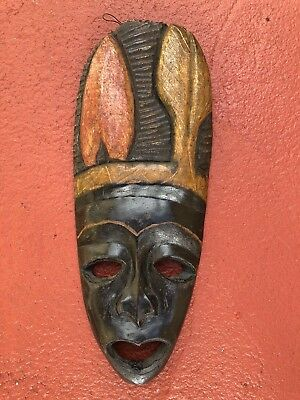 Authentic Handmade Black West African Import Tribal Face Mask Fine Art Piece