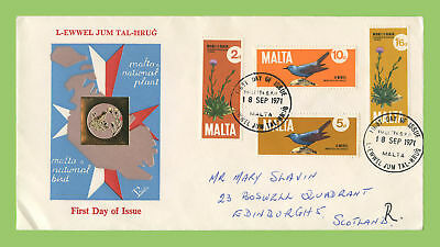 Malta 1971 Birds & Plants set on (red, blue & white) First Day Cover, addressed