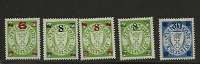 Germany Danzig Sc# 211-5 Mlh Stamps