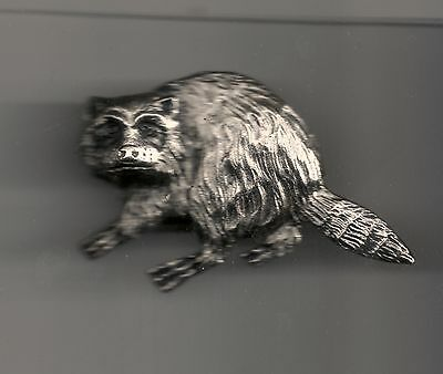 Vintage Sculpted Raccoon Large P old metal badge