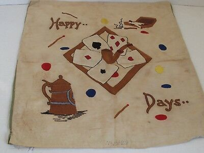 Antique Pillow Top Cover All Embroidered Playing Cards and Smoking Articles