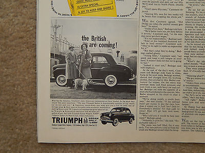 1958 Triumph Sedan - Saturday Evening Post Jan 18, 1958