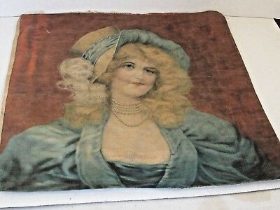 Antique Printed Pillow Top Cover Pretty Victorian Woman Original