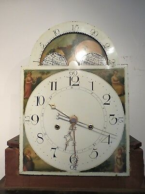 Very Rare Longcase Clock '4 Hand' Moon Dial and Movement c1810. All Working.