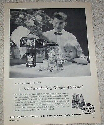 1955 print ad -Canada Dry Ginger Ale soda pop little girl boy take it from Santa