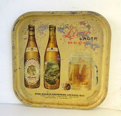 Vintage Old Collectible Rare Indian Brand Lion Lager Beer Ad Litho Tin Tray