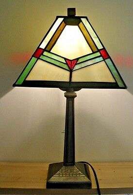Vintage Tiffany Style Stained Glass Table Lamp / Desk Light Full Working Order